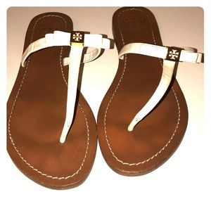 Tory Burch t-strap white leather sandals